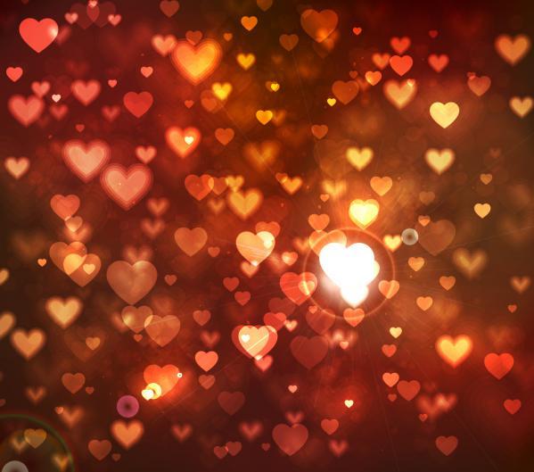 ロマンチックな輝くハートの背景 romantic heart-shaped bright background