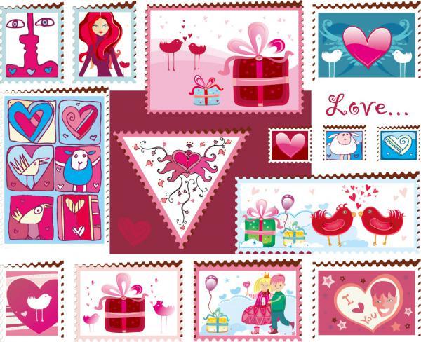 愛らしいハートで型どるバレンタインデー素材 heart-shaped lovely valentine day vector(5)
