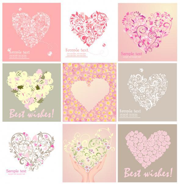 愛らしいハートで型どるバレンタインデー素材 heart-shaped lovely valentine day vector(2)