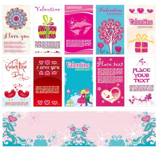愛らしいハートで型どるバレンタインデー素材 heart-shaped lovely valentine day vector(1)