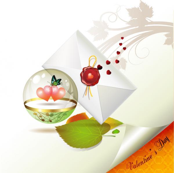 バレンタインデーの招待状 valentine day clip art letter1
