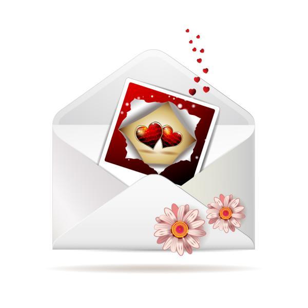 バレンタインデーの招待状 valentine day clip art letter3