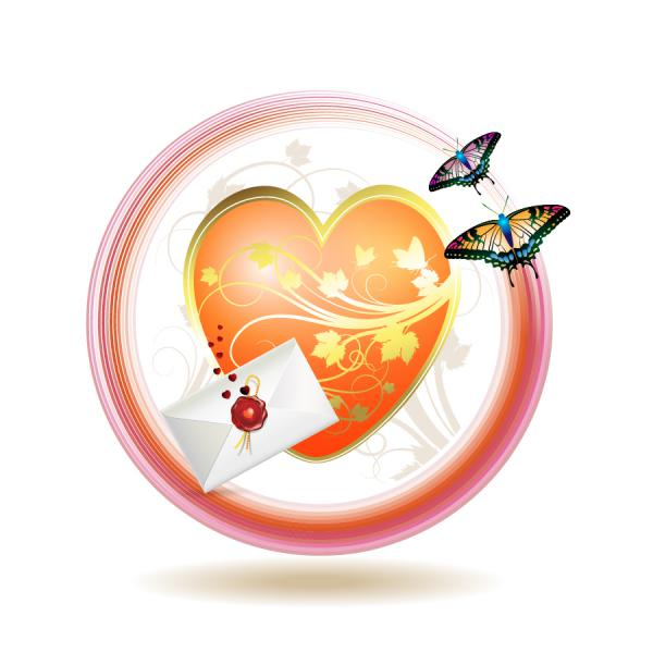 バレンタインデーの招待状 valentine day clip art letter2