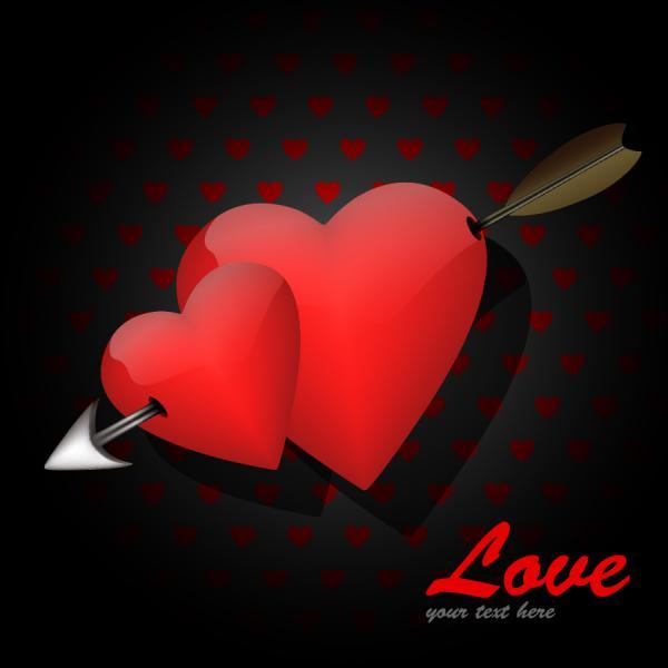 ハートを矢で射るバレンタインデー カード Heart romantic valentine day greeting card(3)