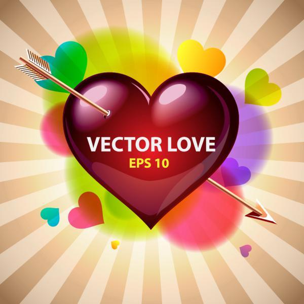 ハートを矢で射るバレンタインデー カード Heart romantic valentine day greeting card(2)