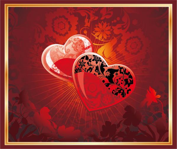 ハートを矢で射るバレンタインデー カード Heart romantic valentine day greeting card(1)