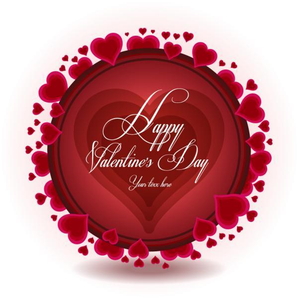 ハートで囲んだバレンタインデーの背景 beautiful heart Valentines Day background