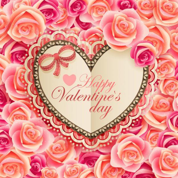 バレンタインデー 花柄の招待状 Valentines Day flowers greeting cards