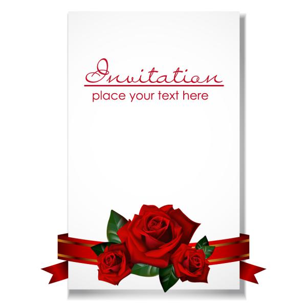 薔薇のリボンの招待状テンプレート roses ribbons invitations template