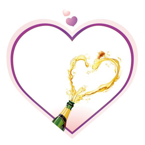 ハート型のシャンパンの飛沫 heart-shaped champagne splash