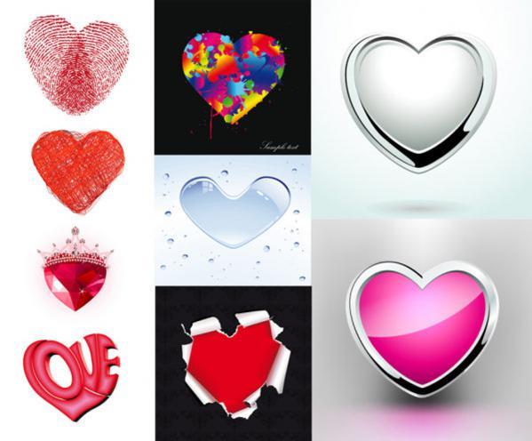 バレンタインデーのハート型エレメント Valentines Day heart-shaped love elements
