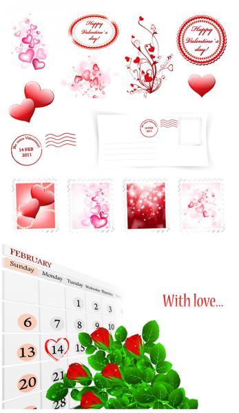 バレンタインデー 愛のハート素材 Valentines Day love hearts postmarks