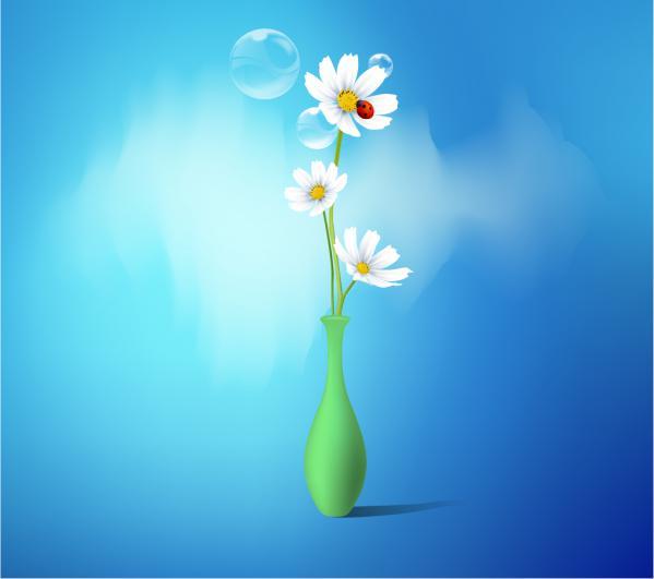 Spring flowers vase