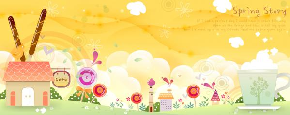 子供が描く春の町並み背景 childrens drawings spring fantasy banners
