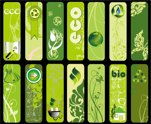 美しい緑の素材・バナー セット beautiful green living banner vector series2
