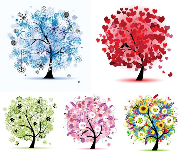 四季折々の樹木 four seasons tree vector