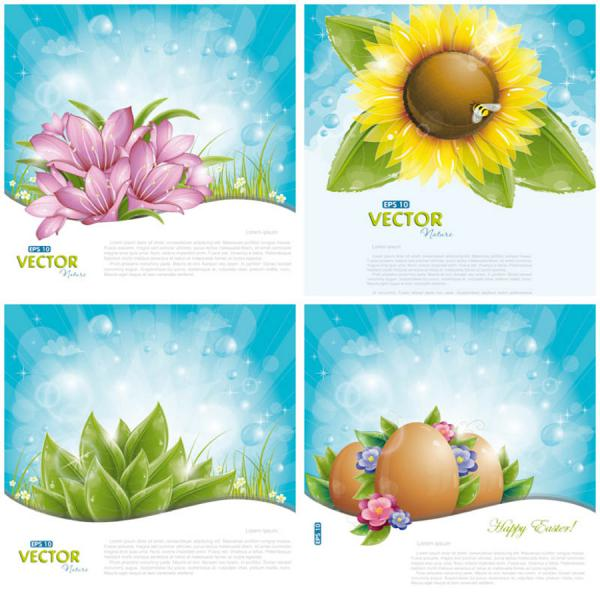 春の陽射しを浴びる植物の背景 templates of cards or backgrounds with spring flowers