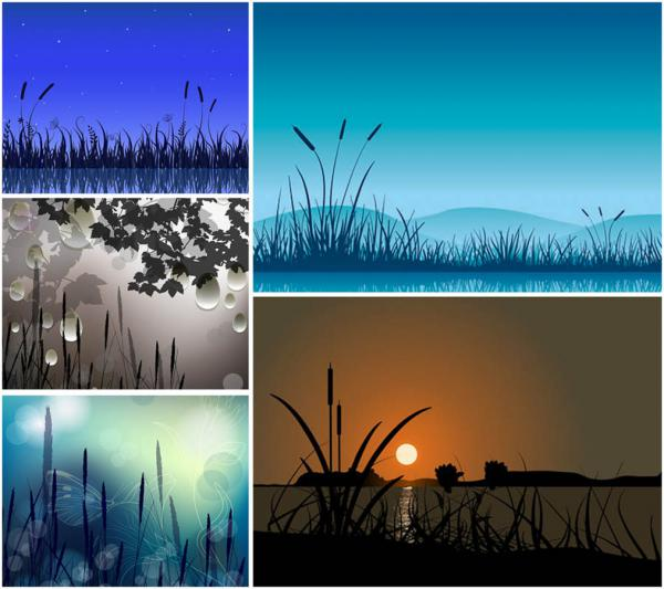 春の夕暮れの背景 spring night illustrations and backgrounds