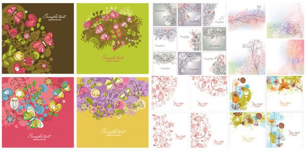 春をイメージした花模様のカード テンプレート集 floral card design templates with different decorative flowers,