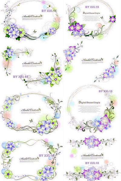 優雅な春の花のフレーム beautiful vector spring frames with some flowers