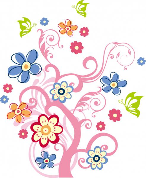 色違いの花で飾る樹の背景 Tree with Flowers Vector Graphic