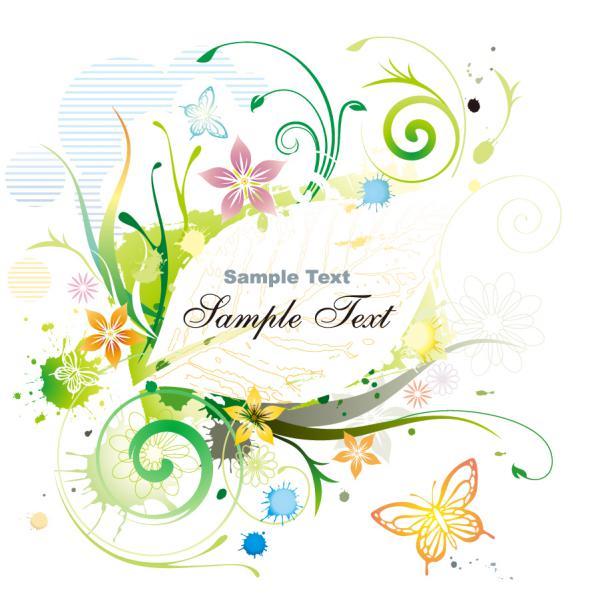 新緑と蝶の春色フレーム Water Color Floral Frame Vector illustration