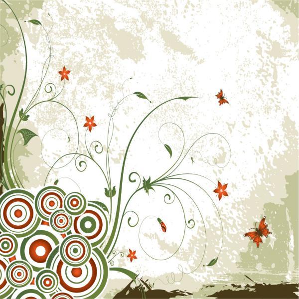 渦巻く植物柄のヴィンテージな背景 Vintage Swirl Floral Background