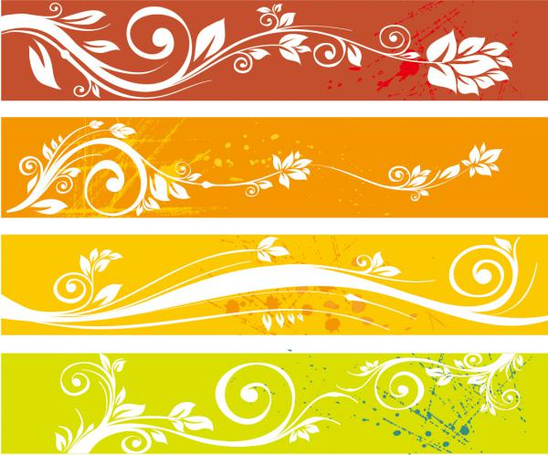 爽やかな植物柄のバナー Floral Website Banners Vector Graphic