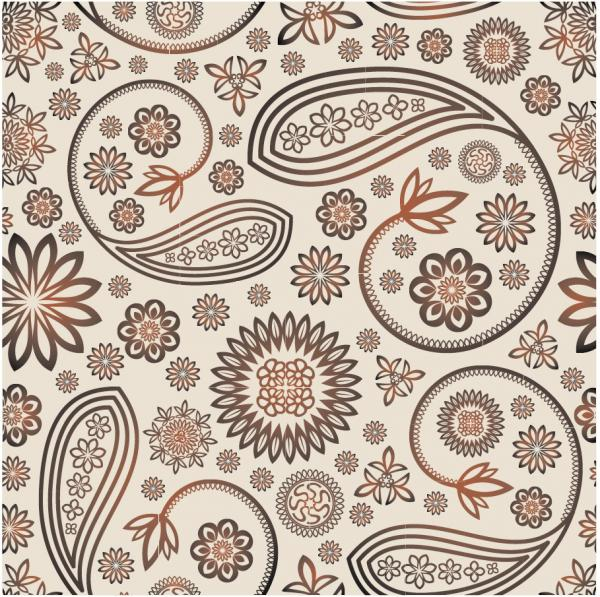 レトロな花の装飾パターン背景 Retro flower ornaments pattern background
