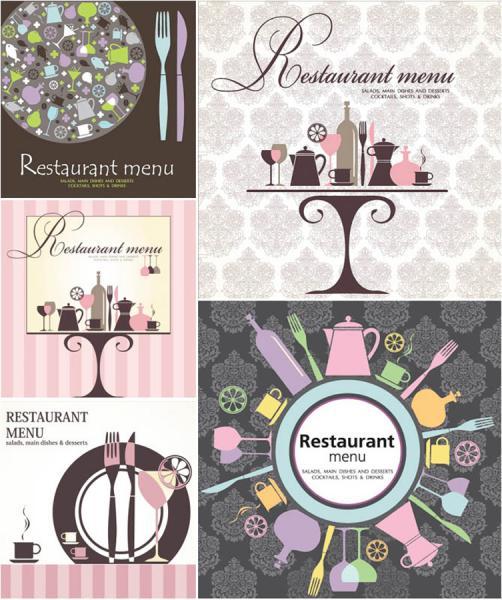 食器で飾るレストラン メニュー テンプレート decorative restaurant manu templates