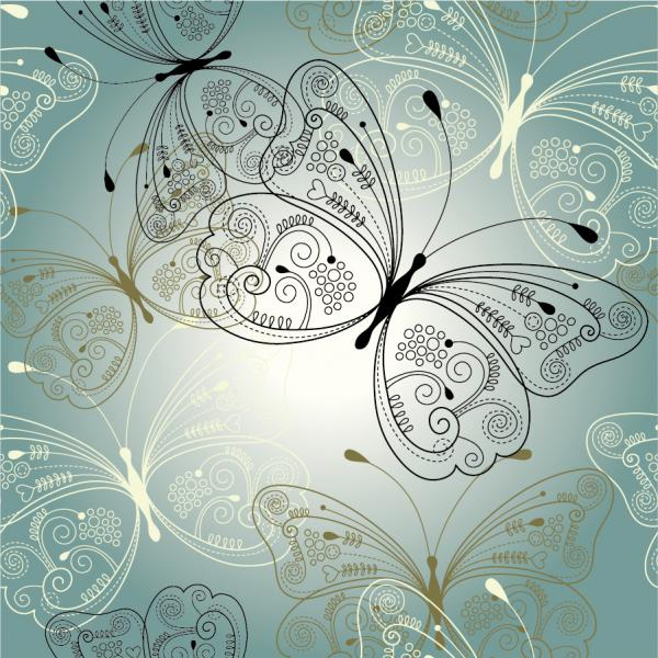 美しい蝶の線画の背景 beautiful butterfly pattern background vector material