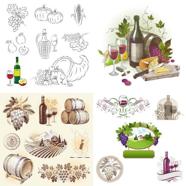 手描き風のヴィンテージ ワインのイラスト wine illustrations in hand drawn vintage style
