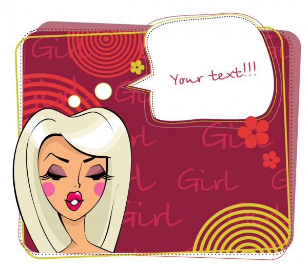 美女が話し掛ける吹き出し beauty cartoon dialog boxes