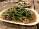 豚肉と空心菜の炒め物
