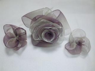 リボンフラワー 紫白グラデ 3個 大