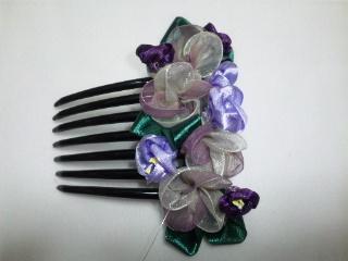 髪飾り リボンフラワー紫陽花 1