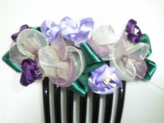 髪飾り リボンフラワー紫陽花 2