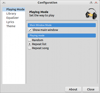 linnya Ubuntu 音楽プレイヤー プレイモード