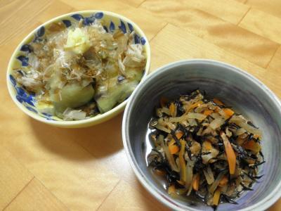 焼き茄子と大根とひじきの煮物