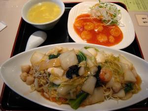 天津飯店・福山天満屋店、「餡かけ焼きそばセット」、