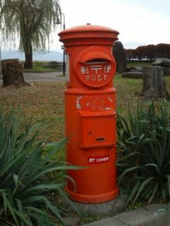 諏訪湖の赤ポスト