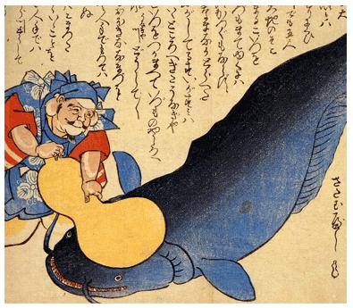鯰絵 恵比寿さんがひょうたんで鯰をおさえる