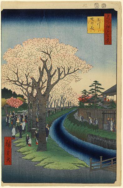 玉川堤の花 安政3年(1856)2月