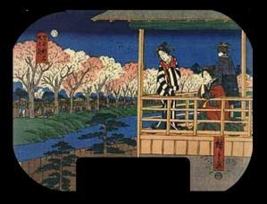 団扇絵「四ツ谷新宿堤の花」)
