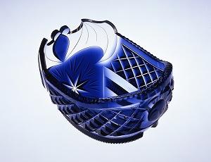 薩摩切子 藍色被船形鉢