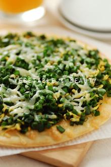 栄養満点!カレー風味のねぎピザ1