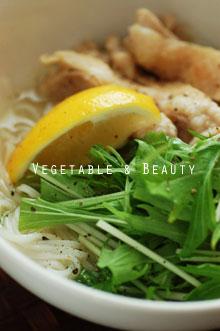 手作りスープで!たっぷり水菜のフォー1