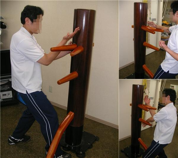 独特の打ち応えが発生する吸盤固定式自立型木人椿