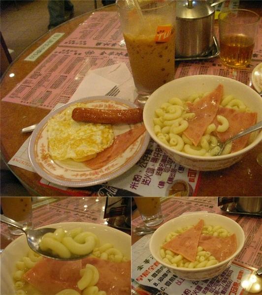 凍奶茶、煎雙蛋、煎腸仔、火腿通粉
