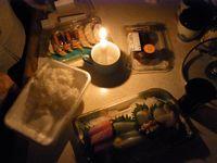 停電中の我が家の夕飯